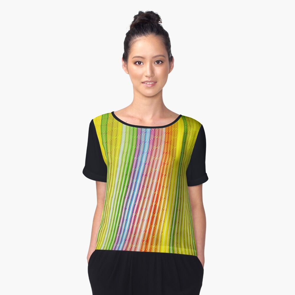 Striations Of Color Women's Chiffon Top Front
