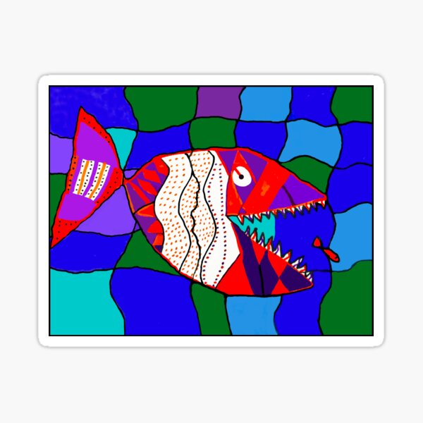 Deadly Designed Piranha Fish - by Alex Sticker