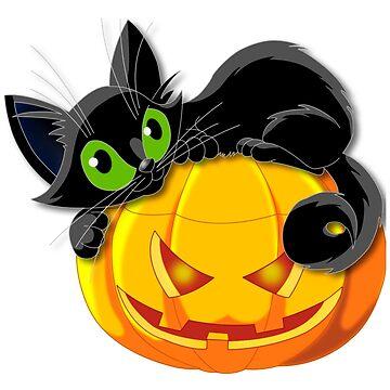 Funny Geek Halloween Cat tshirt by douglaspinto