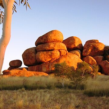Sunset colours on the Devil's Marbles and ghost-gum by timoss