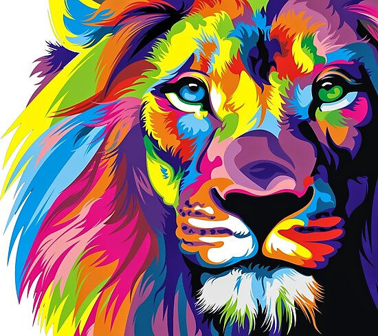 Colorful Lion Pride Photographic Print - Big Cat Wall Decor