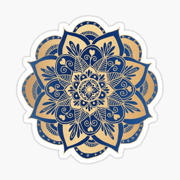 Blue and Gold Flower Mandala Sticker