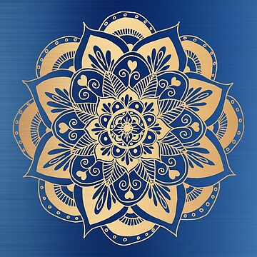 Blue and Gold Flower Mandala by julieerindesign