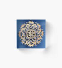 Blue and Gold Flower Mandala Acrylic Block