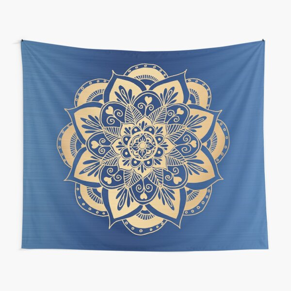 Blue and Gold Flower Mandala Tapestry