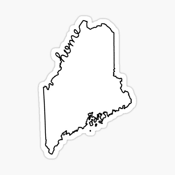 Maine Home State Outline Sticker