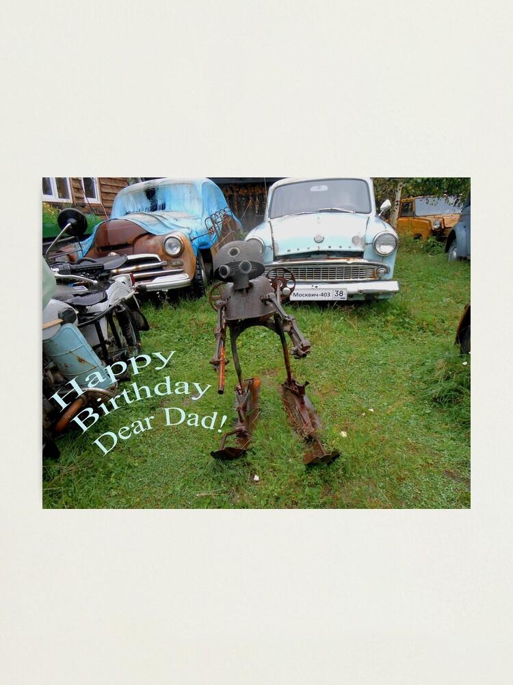 Alternate view of Happy Birthday Dear Dad! Quirky retro design Photographic Print