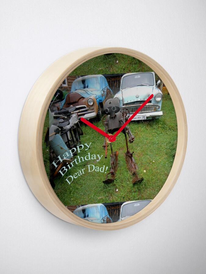 Alternate view of Happy Birthday Dear Dad! Quirky retro design Clock