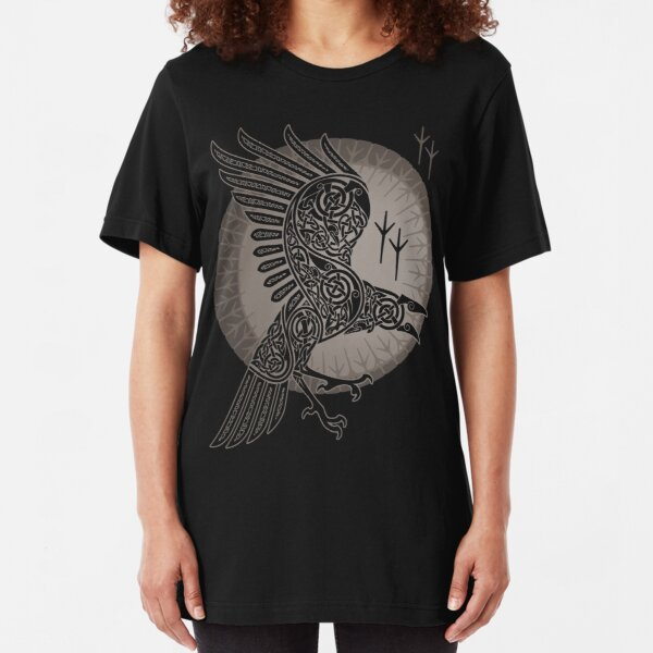 Crow Badge T-shirt Bird Fly Black Ink Pocket Animal Illuminati Top