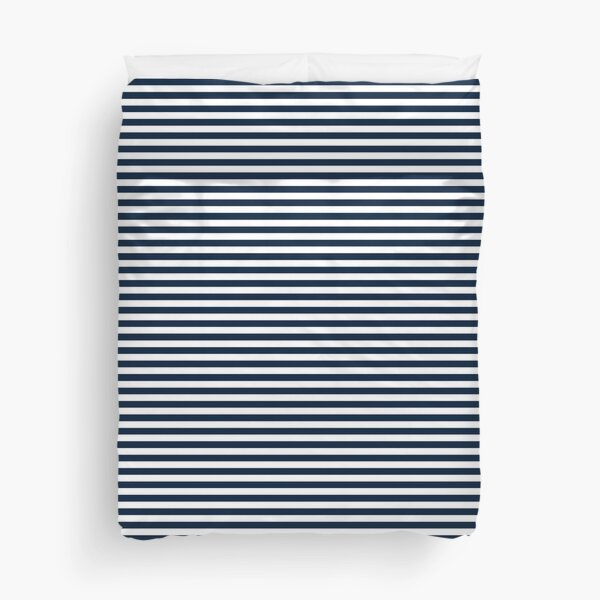 Navy Blue And White Nautical Horizontal Stripes Pattern Duvet Cover