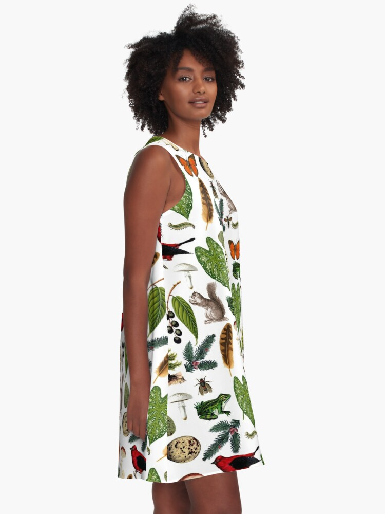 Alternate view of Rustic Woodland Plants And Animals Pattern A-Line Dress