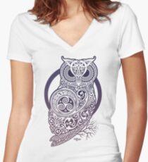 CELTIC OWL Women's Fitted V-Neck T-Shirt