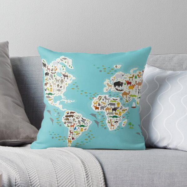 Cartoon animal world map for children and kids, Animals from all over the world, white continents and islands on blue background of ocean and sea Throw Pillow