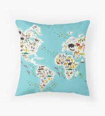 Cartoon animal world map for children Throw Pillow