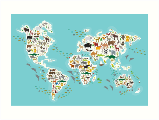 Cartoon animal world map for children by EkaterinaP