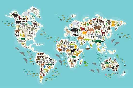 Cartoon animal world map for children