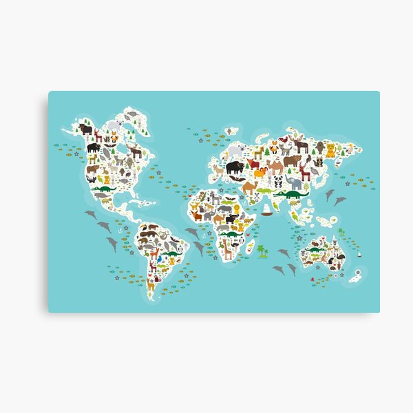 Cartoon animal world map for children and kids, Animals from all over the world, white continents and islands on blue background of ocean and sea Canvas Print