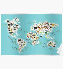 Cartoon animal world map for children Poster