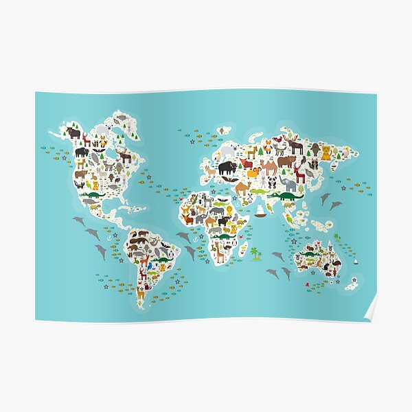 Cartoon animal world map for children and kids, Animals from all over the world, white continents and islands on blue background of ocean and sea Poster