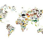 Cartoon animal world map on white background by EkaterinaP