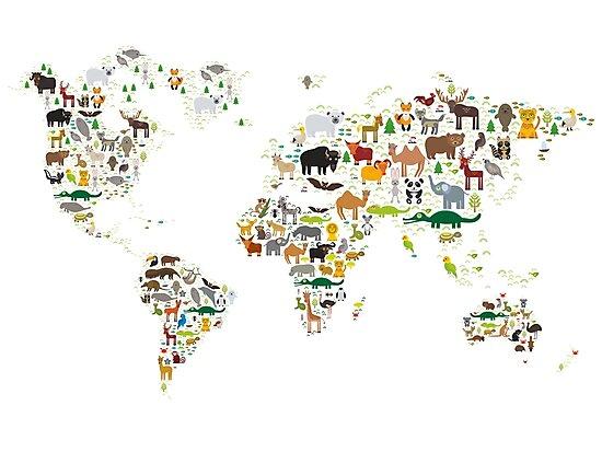 Cartoon animal world map on white background by EkaterinaP