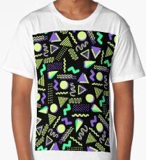 Geometrical retro lime green neon purple 80's abstract pattern Long T-Shirt