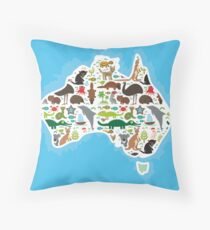 Australian Animal Map  Throw Pillow
