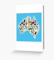 Australian Animal Map  Greeting Card