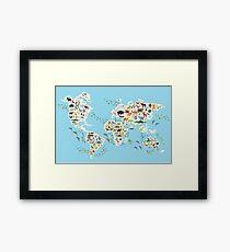 animal world map  Framed Print