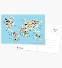 animal world map  Postcards