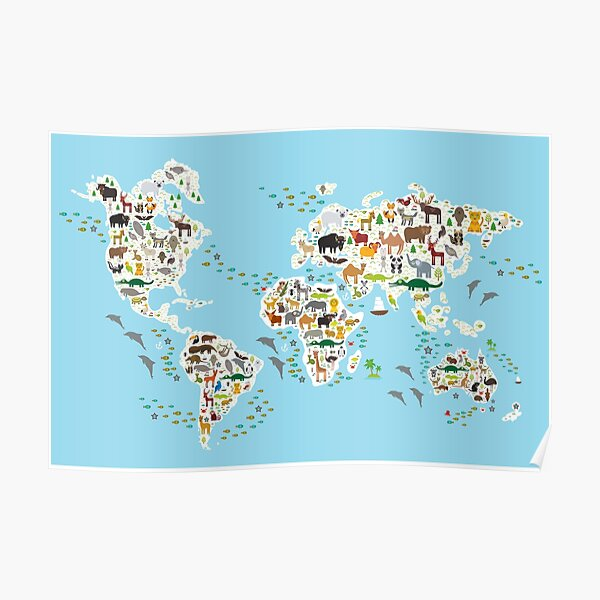 animal world map  Poster