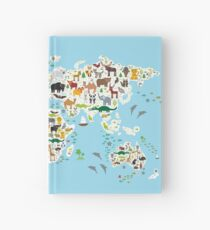 animal world map  Hardcover Journal