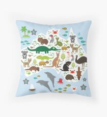 Australian animal map and ocean Throw Pillow
