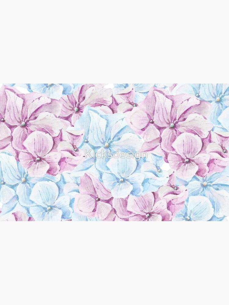 Pintado a mano teal Blush rosa acuarela elegante floral de Kicksdesign