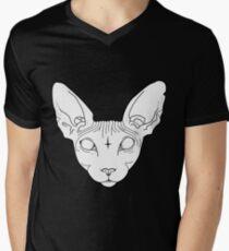 Sphynx Katze T-Shirt mit V-Ausschnitt für Männer