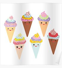 Kawaii Ice cream Poster