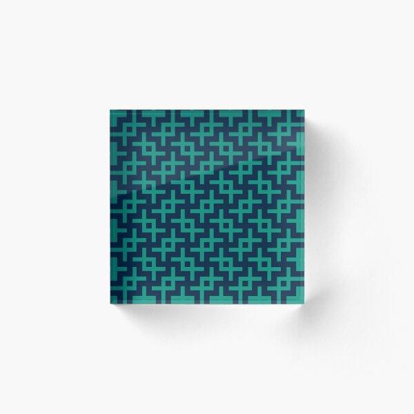 Geometric Pattern: Double Angle: Blue on Blue Acrylic Block