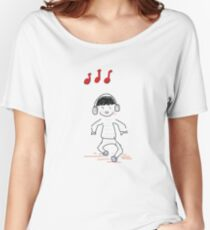 Boy dancing with headset Doodle Design Women's Relaxed Fit T-Shirt