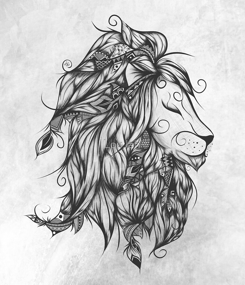 Poetic Lion B&W  by LouJah-