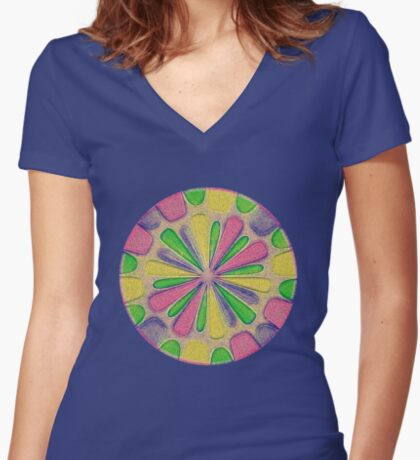 Abstract Flower Fitted V-Neck T-Shirt