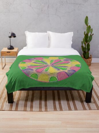 Abstract Flower Throw Blanket