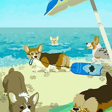 Pups on Corgi Beach by Growly