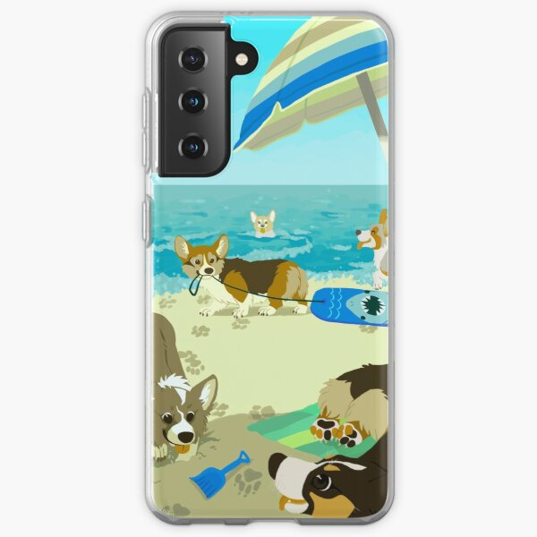 Pups on Corgi Beach Samsung Galaxy Soft Case