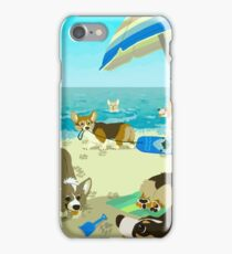 Pups on Corgi Beach iPhone Case/Skin