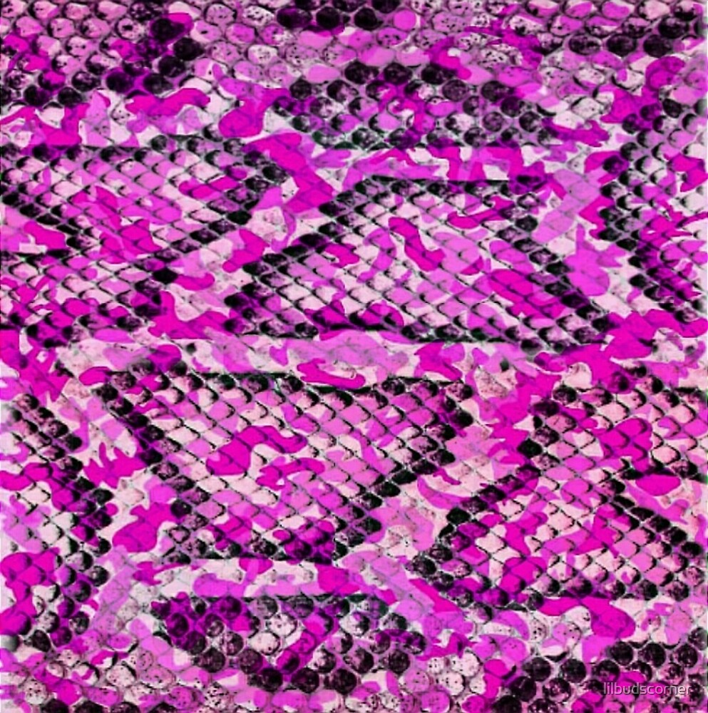 Pink and Black Camo Snake Print by lilbudscorner