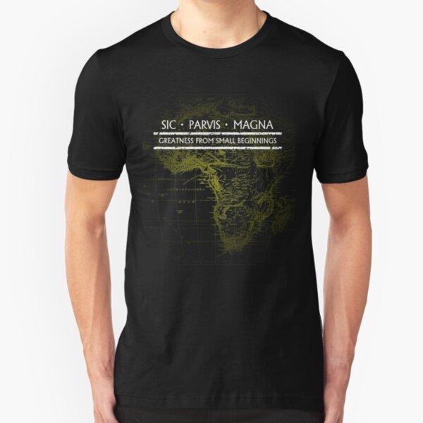 Uncharted - SIC PARVIS MAGNA (Black) Slim Fit T-Shirt