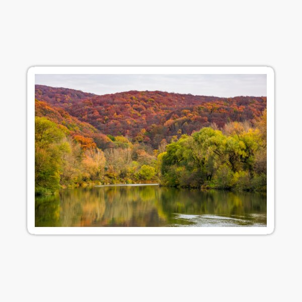 river in mountains among the forest in autumn Sticker