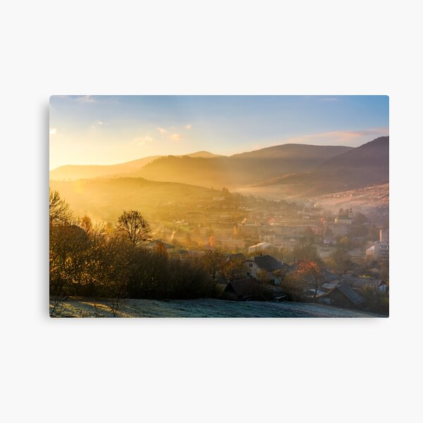 spectacular sunrise in mountainous countryside Metal Print