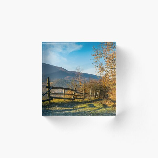 wooden fence near forest in mountains Acrylic Block