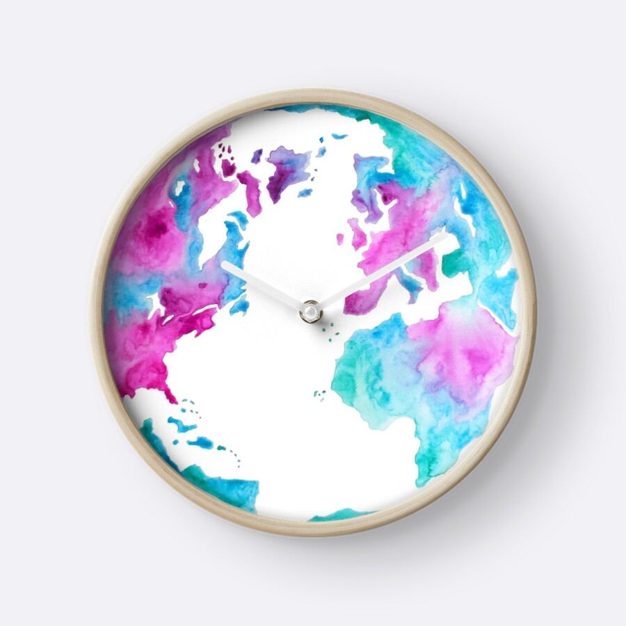 We Only Have One Earth Pink and Blue Watercolor Map of the World
